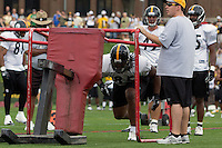 David Johnson, Pittsburgh Steelers tight end hits the sleds. Training camp, August 11, 2011 at Latrobe, Pennsylvania.