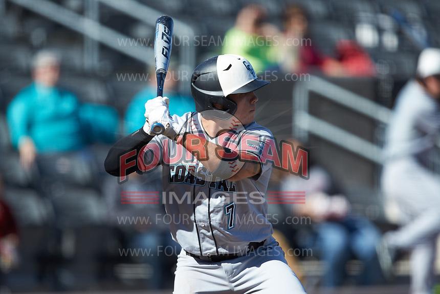 Cooper Weiss (7) of the Coastal Carolina Chanticleers at bat against the Duke Blue Devils at Segra Stadium on November 2, 2019 in Fayetteville, North Carolina. (Brian Westerholt/Four Seam Images)