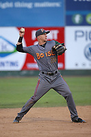 Matt McLaughlin (54) of the Boise Hawks throws to first base during a game against the Everett AquaSox at Everett Memorial Stadium on July 20, 2017 in Everett, Washington. Everett defeated Boise, 13-11. (Larry Goren/Four Seam Images)