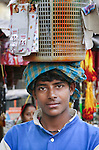 Innovative seller at market, Kolkata, India