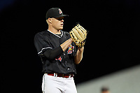 Batavia Muckdogs relief pitcher Tanner Andrews (34) during a game against the State College Spikes on July 7, 2018 at Dwyer Stadium in Batavia, New York.  State College defeated Batavia 7-4.  (Mike Janes/Four Seam Images)
