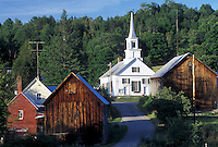 Vermont, VT, Waits River, scenic village, country road, rustic barns.