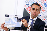 Italian Foreign Minister Luigi di Maio showing to the press a map of the municipalities in the Regions of Veneto and Lombardia where is not possible to travel<br /> Rome February 27th 2020. Press conference at the Foreign Press Association about Coronavirus (Covid-19). The Italian Government try to calm the fears about the outbreak of the flu, to avoid a drop of the tourism and commercial relations.<br /> Photo Samantha Zucchi Insidefoto
