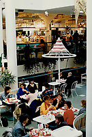 1987 FILE PHOTO - ARCHIVES -<br /> <br /> inside; cafe chairs and designer umbrellas surround fast-food outlets;<br /> <br /> 1987<br /> <br /> PHOTO :  Dick Loek - Toronto Star Archives - AQP