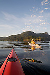 San Juan Islands, Sea Kayakers approaching Cypress Island, Rosario Strait, Puget Sound,  Washington State, Pacific Northwest, USA, island largely preserved by Washington Wildlife and Recreation Program and the Department of Natural Resources,