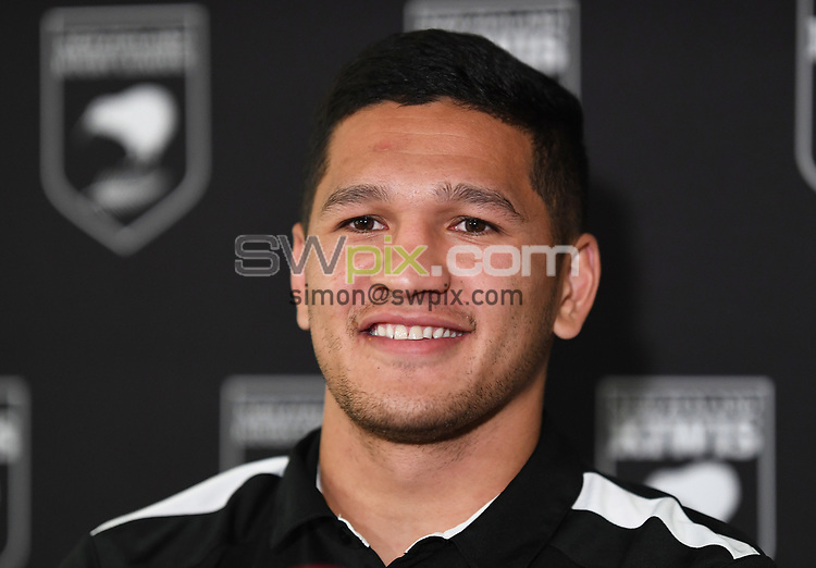 Dallin Watene-Zelezniak is announced as the Kiwis Rugby League captain at a press conference ahead of the upcoming test match against the Australian Kangaroos this weekend. Pullman Hotel, Auckland, New Zealand. Tuesday 9 October 2018. © Copyright photo: Andrew Cornaga / www.photosport.nz