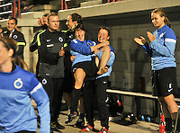 20130906 - VARSENARE , BELGIUM : Brugge celebrating their win over THe Hague with coach Filip Wydock (left) , Ingrid De Rycke in the arms of Christine Salens and Eva Van Daele (right) during the female soccer match between Club Brugge Vrouwen and ADO DEN HAAG Dames , of the third matchday in the BENELEAGUE competition. Friday 06 th September 2013. PHOTO JOKE VUYLSTEKE