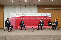 8th October 2020, Tokyo, Japan;  World Athletics President Sebastian Coe 2nd and World Athletics CEO Jon Ridgeon meet with Tokyo Organising Committee of the Olympic and Paralympic Games Tokyo 2020 President Yoshiro Mori and Tokyo 2020 CEO Toshiro Muto in Chuo City, Tokyo, Japan