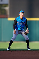 Tampa Tarpons shortstop Hoy Jun Park (1) during a game against the Lakeland Flying Tigers on April 6, 2018 at Publix Field at Joker Marchant Stadium in Lakeland, Florida.  Lakeland defeated Tampa 6-5.  (Mike Janes/Four Seam Images)