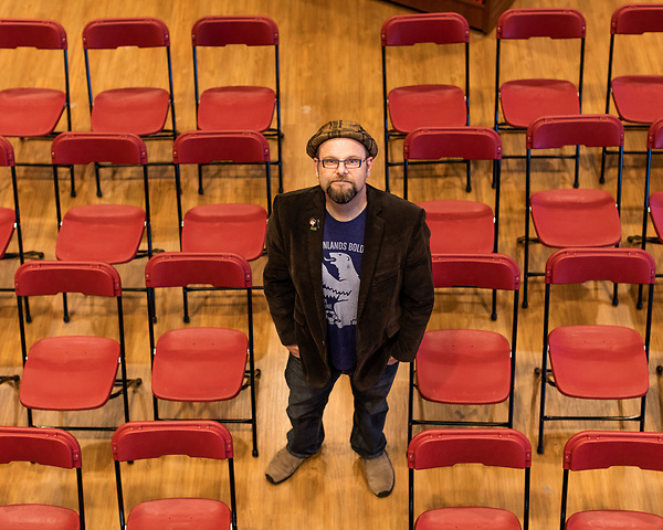 """July 26, 2017. Raleigh, North Carolina.<br /> <br /> Alan Gratz stands for a portrait. <br /> <br /> Author Alan Gratz spoke about and signed his new book """"Refugee"""" at Quail Ridge Books. The young adult fiction novel contrasts the stories of three refugees from different time periods, a Jewish boy in 1930's Germany , a Cuban girl in 1994 and a Syrian boy in 2015."""