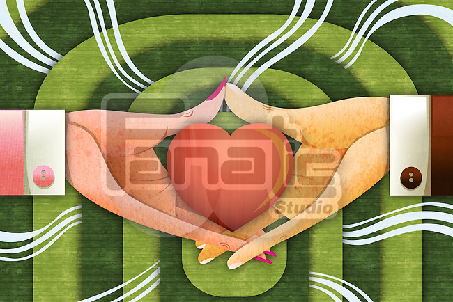 Illustrative image of hands with heart representing love