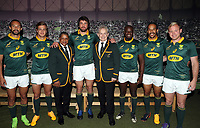 (L) to (R) Dillyn Leyds - Andries Coetzee Allister Coetzee (Head Coach) of South Africa - Warren Whiteley (captain) -Ian Schwartz (Team Manager) of South Africa Raymond Rhule - Courtnall Skosan and Ross Cronje of South Africa during the South African Official Springbok team photograph at the team hotel Southern Sun Pretoria Hotel,Pretoria South Africa. 9th June 2017(Photo by Steve Haag Sports)
