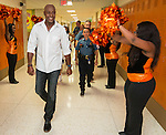 Students cheer for former NFL receiver Jerry Rice during a pep rally at Scarborough High School, September 9, 2014.