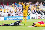 Jamie Maclaren of Australia (L) reacts as goalkeeper Amer Shafi of Jordan (L) saves the ball during the AFC Asian Cup UAE 2019 Group B match between Australia (AUS) and Jordan (JOR) at Hazza Bin Zayed Stadium on 06 January 2019 in Al Ain, United Arab Emirates. Photo by Marcio Rodrigo Machado / Power Sport Images