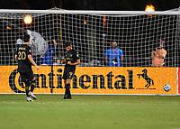 LAKE BUENA VISTA, FL - JULY 18: Diego Rossi #9 of LAFC celebrate his penalty shot goal during a game between Los Angeles Galaxy and Los Angeles FC at ESPN Wide World of Sports on July 18, 2020 in Lake Buena Vista, Florida.