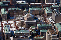 aerial photograph Columbia University campus, Manhattan, New York City after a snow storm