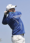 JEJU, SOUTH KOREA - APRIL 25:  Marcus Fraser of Australia tees off on the 14th hole during the Round Three of the Ballantine's Championship at Pinx Golf Club on April 25, 2010 in Jeju, South Korea. Photo by Victor Fraile / The Power of Sport Images
