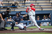 Ohio State Buckeyes outfielder Mitchell Okuley (24) swings the bat against the Michigan Wolverines on April 9, 2021 in NCAA baseball action at Ray Fisher Stadium in Ann Arbor, Michigan. Ohio State beat the Wolverines 7-4. (Andrew Woolley/Four Seam Images)