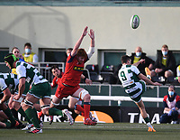 20th February 2021; Trailfinders Sports Club, London, England; Trailfinders Challenge Cup Rugby, Ealing Trailfinders versus Doncaster Knights; Craig Hampson of Ealing Trailfinders kicks from the base of the ruck under pressure from Conor Joyce of Doncaster Knights