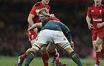 Wales hooker Richard Hibbard crashes into Springbok lock Flip Van Der Merwe<br /> <br /> 2013 Dove Men Series<br /> Wales v South Africa<br /> Millennium Stadium<br /> 09.11.13<br /> ©Steve Pope-Sportingwales