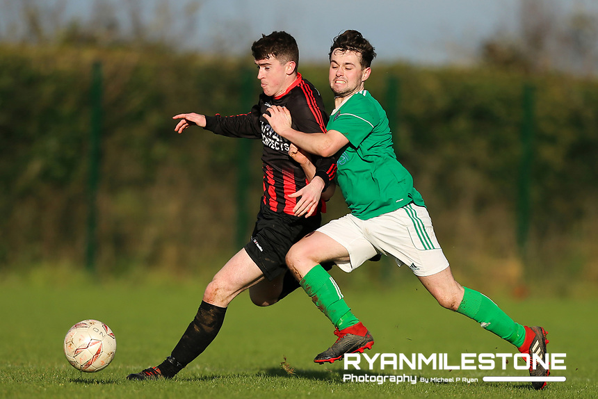 EVENT:<br /> TSDL Premier Division<br /> Peake Villa v Clonmel Celtic<br /> Sunday 12th January 2020<br /> Tower Grounds, Thurles, Co Tipperary<br /> <br /> CAPTION:<br /> Michael Wade of Peake Villa in action against Sam Power of Clonmel Celtic<br /> <br /> Photo By: Michael P Ryan