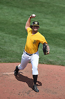 Bradenton Marauders pitcher Ryan Hafner (55) delivers a pitch during a game against the St. Lucie Mets on April 12, 2015 at McKechnie Field in Bradenton, Florida.  Bradenton defeated St. Lucie 7-5.  (Mike Janes/Four Seam Images)