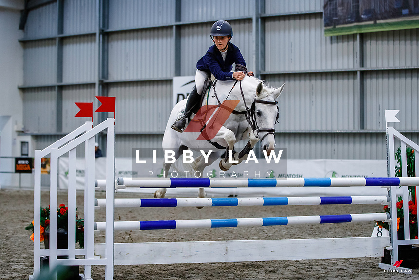NZL-Emma Gillies rides Benrose Starlight. Class 28: Trev Terry Marine Pony 1.15m-1.20m - FINAL. 2021 NZL-Easter Jumping Festival presented by McIntosh Global Equestrian and Equestrian Entries. NEC Taupo. Sunday 4 April. Copyright Photo: Libby Law Photography