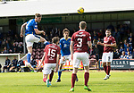 Arbroath v St Johnstone…15.08.21  Gayfield Park      Premier Sports Cup<br />Jamie McCart rises high to head the ball only to see it saved<br />Picture by Graeme Hart.<br />Copyright Perthshire Picture Agency<br />Tel: 01738 623350  Mobile: 07990 594431