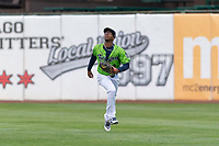 Kane County Cougars right fielder Tra Holmes (3) during a Midwest League game against the Cedar Rapids Kernels at Northwestern Medicine Field on April 28, 2019 in Geneva, Illinois. Cedar Rapids defeated Kane County 3-2 in game two of a doubleheader. (Zachary Lucy/Four Seam Images)
