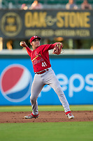 Palm Beach Cardinals third baseman Luis Rodriguez (41) throws to first base during a game against the Bradenton Marauders on May 29, 2021 at LECOM Park in Bradenton, Florida.  (Mike Janes/Four Seam Images)