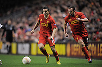 21.02.2013 Liverpool, England.  Oussama Assaidi  of Liverpool  in action during the Europa League game between Liverpool and Zenit St Petersburg from Anfield. Liverpool won 3-1 on the night but went out of the competition on away goals.