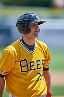 Scott Schebler (33) of the Salt Lake Bees during the game against the Las Vegas Aviators at Smith's Ballpark on June 27, 2021 in Salt Lake City, Utah. The Aviators defeated the Bees 5-3. (Stephen Smith/Four Seam Images)