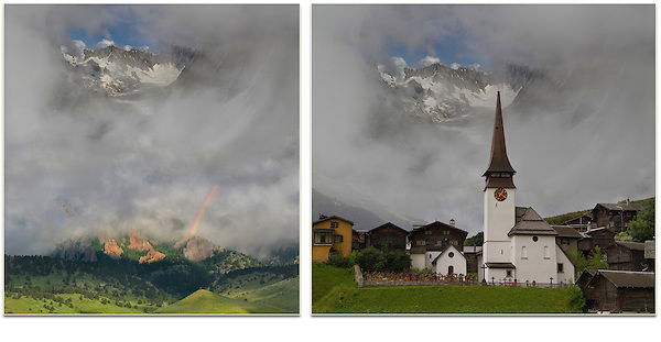 Switzerland, Zermatt.  New School Imagery<br /> Photo composites from Switzerland, Chamonix and Colorado, with a rainbow thrown in for good measure. <br /> From John's Photoshop and Lightroom workshop.