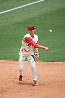 Clearwater Threshers third baseman Mitch Walding (10) throws to first base during a game against the Daytona Tortugas on April 20, 2016 at Bright House Field in Clearwater, Florida.  Clearwater defeated Daytona 4-2.  (Mike Janes/Four Seam Images)