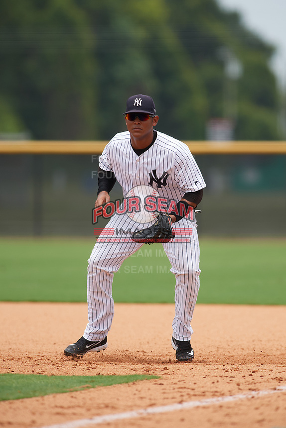 GCL Yankees East first baseman Lisandro Blanco (14) during the second game of a doubleheader against the GCL Blue Jays on July 24, 2017 at the Yankees Minor League Complex in Tampa, Florida.  GCL Yankees East defeated the GCL Blue Jays 7-3.  (Mike Janes/Four Seam Images)