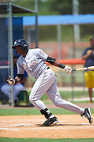 GCL Marlins left fielder Sleyter Soto (11) at bat during a game against the GCL Mets on August 12, 2016 at St. Lucie Sports Complex in St. Lucie, Florida.  GCL Marlins defeated GCL Mets 8-1.  (Mike Janes/Four Seam Images)