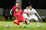 Lo Kwan Yee of Hong Kong (R) Ahmad Sameer Saleh of Jordan (R) during the International Friendly match between Hong Kong and Jordan at Mongkok Stadium on June 7, 2017 in Hong Kong, China. Photo by Cris Wong / Power Sport Images