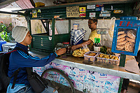 Yogyakarta, Java, Indonesia.  Fast Food Refreshment Stand, Taman Sari (Water Castle) Grounds.