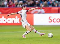 CARSON, CA - FEBRUARY 9: Megan Rapinoe #15 of the United States takes a shot during a game between Canada and USWNT at Dignity Health Sports Park on February 9, 2020 in Carson, California.