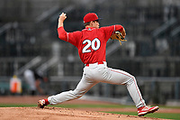 Starting pitcher Nick Fanti (20) of the Lakewood BlueClaws with the North team bats during the South Atlantic League All-Star Game on Tuesday, June 20, 2017, at Spirit Communications Park in Columbia, South Carolina. The game was suspended due to rain after seven innings tied, 3-3. (Tom Priddy/Four Seam Images)