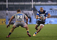 8th January 2021; Recreation Ground, Bath, Somerset, England; English Premiership Rugby, Bath versus Wasps; Tom Cruse of Wasps prepares to tackle Jonathan Joseph of Bath