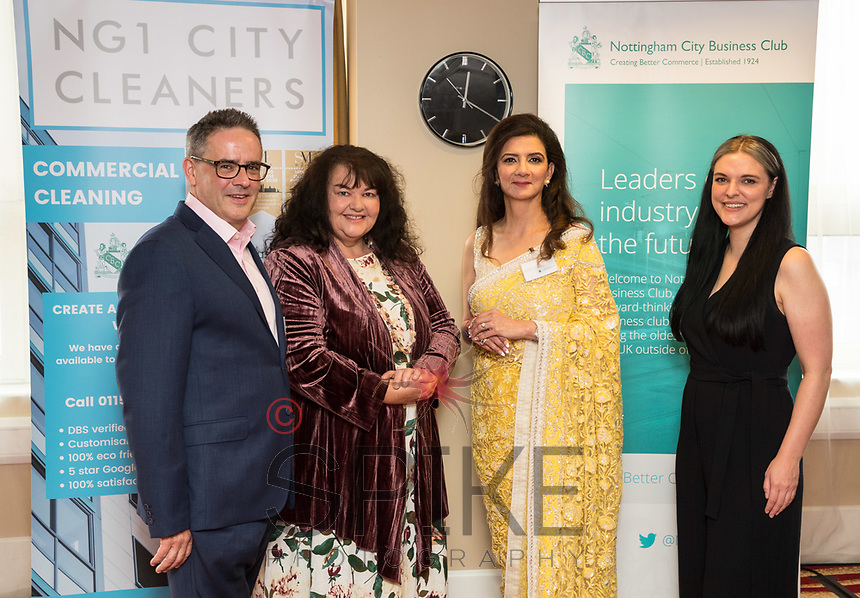 Panel speakers from left are Tom Waldron-Lynch, East Midlands Conference Centre & Orchard Hotel, Penney Poyzer, Nottingham Good Food Partnership, Amita Sawhney, MemSaab Restaurant and Lucy Stanford, Nottingham BID