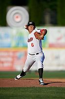 Tri-City ValleyCats starting pitcher Juan Robles (6) delivers a pitch during a game against the Vermont Lake Monsters on June 16, 2018 at Joseph L. Bruno Stadium in Troy, New York.  Vermont defeated Tri-City 6-2.  (Mike Janes/Four Seam Images)