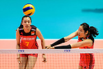Ting Zhu of China (R) passes the ball during the FIVB Volleyball Nations League Hong Kong match between China and Argentina on May 29, 2018 in Hong Kong, Hong Kong. Photo by Marcio Rodrigo Machado / Power Sport Images