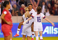 HOUSTON, TX - JANUARY 31: Jessica McDonald #14, Lindsey Horan #9 and Rose Lavelle #16 of the United States celebrate a USA goal during a game between Panama and USWNT at BBVA Stadium on January 31, 2020 in Houston, Texas.