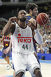 Real Madrid's Marcus Slaughter celebrates in presence of FC Barcelona's Alex Abrines during Liga Endesa ACB 2nd Final Match.June 21,2015. (ALTERPHOTOS/Acero)
