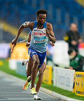 2nd May 2021; Silesian Stadium, Chorzow, Poland; World Athletics Relays 2021. Day 2; Yousif Rabah takes the baton for Great Britain in the mixed 4 x 400 mtr final