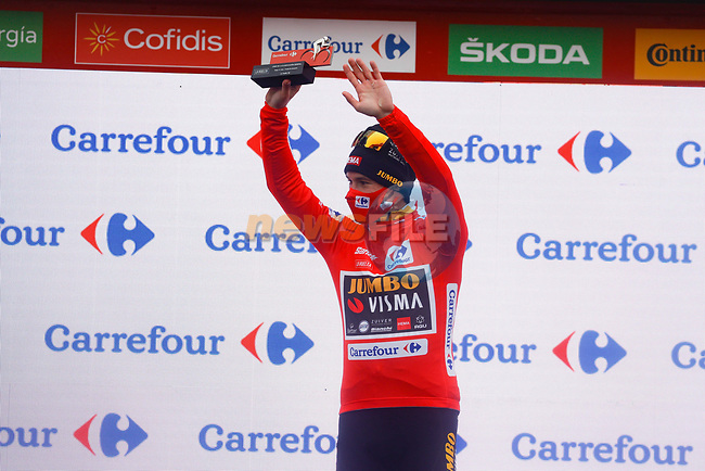 Race leader Primoz Poglic (SLO) Team Jumbo-Visma retains the Red Jersey at the end of Stage 15 of the Vuelta Espana 2020, running 230.8km from Mos to Puebla de Sanabria, Spain. 5th November 2020. <br /> Picture: Luis Angel Gomez/PhotoSportGomez | Cyclefile<br /> <br /> All photos usage must carry mandatory copyright credit (© Cyclefile | Luis Angel Gomez/PhotoSportGomez)