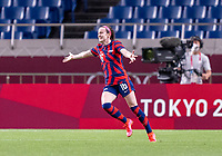 SAITAMA, JAPAN - JULY 24: Rose Lavelle #16 of the USWNT celebrates her goal during a game between New Zealand and USWNT at Saitama Stadium on July 24, 2021 in Saitama, Japan.