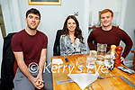 Brian Fleming, Margo O'Carroll and Robert O'Shea enjoying the evening in Bella Bia on Friday.